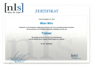 Milan Milic - NLS Certificate - Trainer